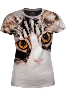 Camiseta Baby Look Gato Claro Over Fame Bege