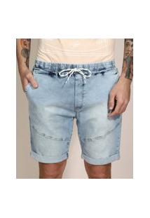 Bermuda Slim Jeans Marmorizada Com Recorte E Barra Dobrada Azul Claro