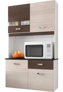 Cozinha Compacta Suspensa 4 Portas 1 Gaveta Lili - Poquema - Amendoa / Capuccino