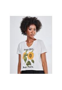 Camiseta Off-White Estampa Girassol