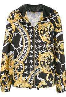 Versace Jaqueta Estampada Com Capuz - Preto
