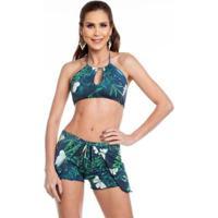 640e48562 Shorts De Praia Maré Brasil - Feminino-Azul Escuro