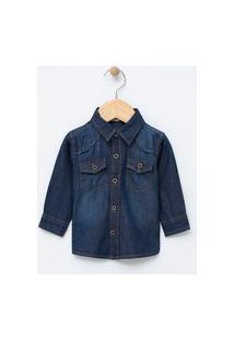 Camisa Infantil Em Jeans - Tam 0 A 18 Meses   Teddy Boom (0 A 18 Meses)   Azul   12-18M