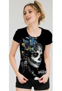 Camiseta Stompy Feminina Estampada 15 - Feminino-Preto
