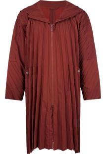 Homme Plissé Issey Miyake Hooded Zipped Coat - Vermelho