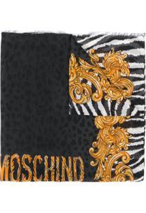 Moschino Cachecol Com Estampa De Logo - Preto