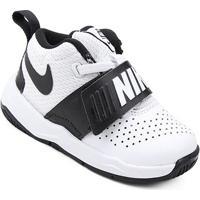 0c70c8516f Tênis Infantil Couro Nike Team Hustle D Masculino - Masculino-Branco+Preto