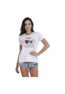 Camiseta Jay Jay Basica Only Good Vibes Branca Dtg
