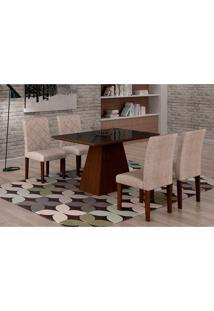 Conjunto De Mesa De Jantar Luna Com Vidro E 4 Cadeiras Ane Suede Amassado Castor E Preto