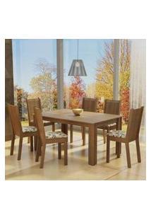 Conjunto Sala De Jantar Madesa Bia Mesa Tampo De Madeira Com 4 Cadeiras Rustic/Pérola