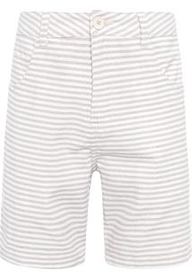 Bermuda Masculina E-Fabrics Stripes - Off White