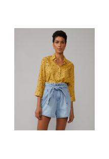 Amaro Feminino Camisa Básica Viscose Estampada, Granilite Yellow