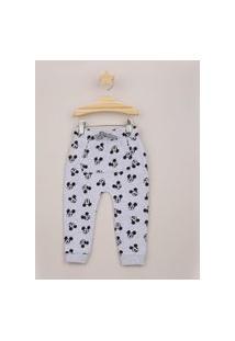 Calça De Moletom Infantil Mickey Estampada Com Bolso Canguru Cinza Mescla
