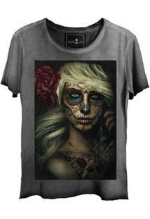 Camiseta Feminina Estonada Corte A Fio Sugar Skull