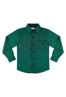 Camisa Look Jeans Manga Longa Verde