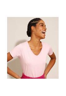 Camiseta Básica Manga Curta Decote V Rosa