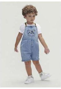 Conjunto Manga Curta Menino Em Jeans Toddler Azul