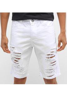 Bermuda Jeans Ecxo Rasgos Masculina - Masculino-Branco