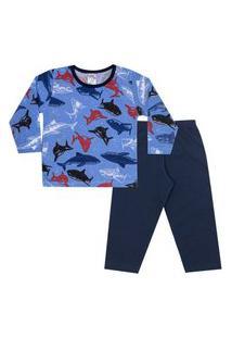 Conjunto Pijama Menino Em M/Malha Camiseta Rotativa Tubarões Azul Claro E Calça Marinho - Liga Nessa