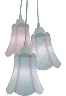 Lustre Pendente Luminária Cúpulas Paris Tecidos Rosa Bebê E Branco