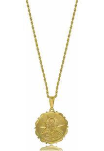 Colar Com Corrente Trançada E Pingente Jesus Cristo 3Rs Semijoias Dourado - Tricae