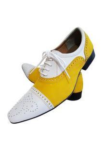 Sapato Masculino Italiano Oxford Em Couro Art Sapatos Amarelo Abelha