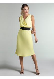 Vestido Clássico Amarelo Transpasse