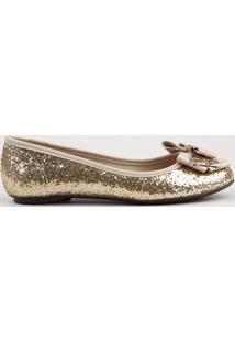 Sapatilha Infantil Molekinha Bico Redondo Em Glitter Com Laço Dourada