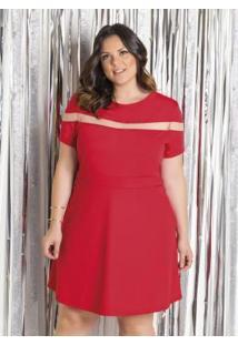 Vestido Vermelho Com Tule Plus Size Marguerite