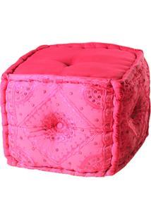 Puff Decorativo De Tecido Rosa
