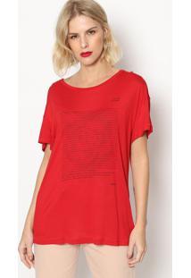 Camiseta Com Inscrições - Vermelha Preta- Forumforum