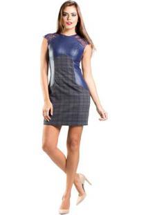 Vestido Renda Recortes Couro Xadrez Lume - Feminino-Azul Escuro