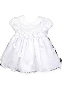Vestido Cacau Baby Casinha De Abelha Flower Branco