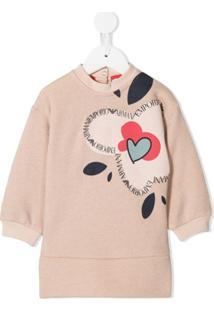 Emporio Armani Kids Vestido Reto Com Estampa De Logo - Rosa