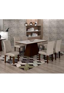 Conjunto De Mesa De Jantar Luna Com 6 Cadeiras Ane I Linho Castor E Branco