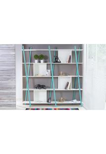 Estante Branca Grande Para Sala Design 5 Prateleiras E Nichos Moderna Mdf E Madeira Cor Azul Sue Woodinn 180X38X180 Cm