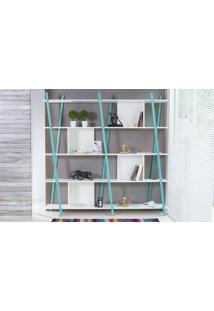Estante Para Livros 5 Prateleiras Com Pés De Madeira Cor Azul - Sue 180X38X180 Cm