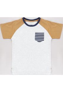 Camiseta Infantil Raglan Com Bolso Manga Curta Cinza Mescla Claro