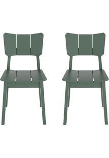 Conjunto De Cadeiras Uma - 2 Peã§As - Verde Escuro