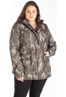 Jaqueta Sarja Plus Size Parka Camuflada Besni Feminina - Feminino-Verde Militar