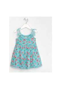 Vestido Infantil Estampado Com Detalhes Em Renda E Tassel - Tam 1 A 5 Anos | Póim (1 A 5 Anos) | Azul | 03