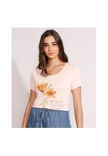 "Camiseta Flores ""Saudade"" Manga Curta Decote Redondo Rosê"