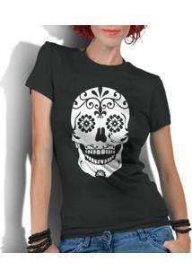 Camiseta Criativa Urbana Caveira Mexicana Flores - Feminino