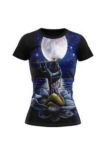 Camiseta Feminina Lucinoze Camisetas Manga Curta Folclore Preta