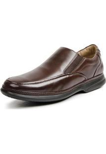 Sapato Conforto Couro Elástico Redondo Masculino - Masculino-Café