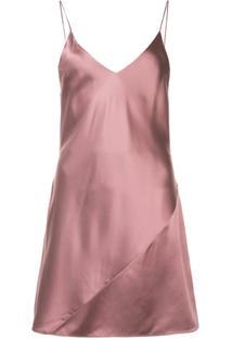 Fleur Du Mal Slip Dress De Seda - Pink & Purple