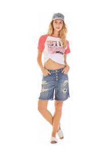 Bermuda Slim Botao Vista Jeans 38