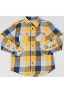 Camisa Infantil Estampada Xadrez Com Bolsos Manga Longa Mostarda