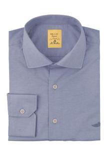Camisa Social Lisa Slim Azul