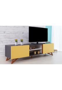 Rack De Tv Preto Moderno Vintage Retrô Com 2 Portas Amarela Freddie - 180X43,6X48,5 Cm